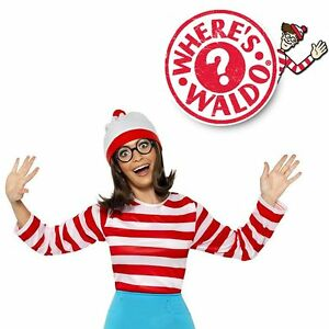 Image is loading Where-039-s-Waldo-Wally-Wenda-Cartoon-Halloween-  sc 1 st  eBay & Whereu0027s Waldo Wally Wenda Cartoon Halloween Ladies Womens Fancy ...