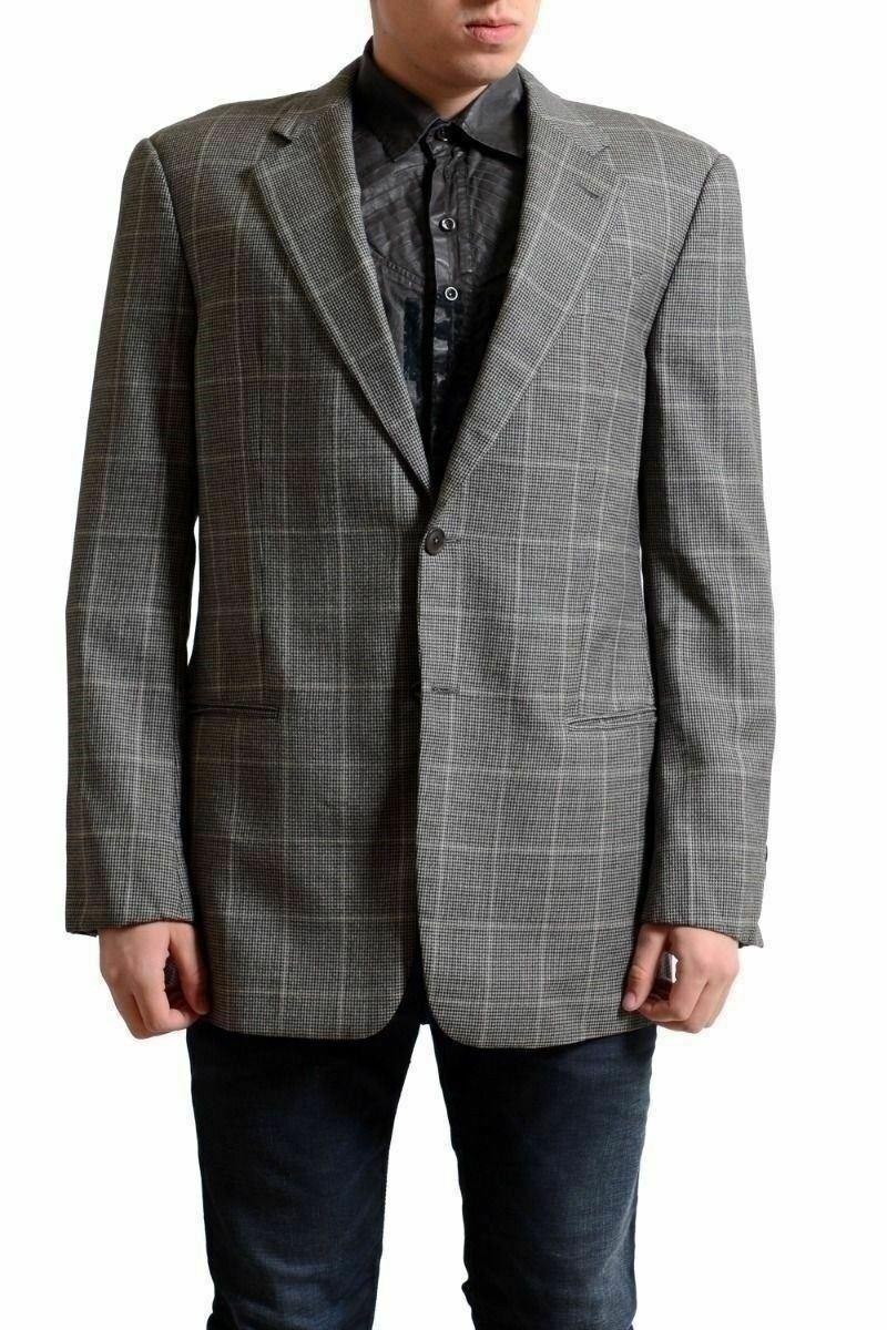 Armani Collezioni Men's 100% Wool Plaided Two Button Blazer US 40L IT 50L