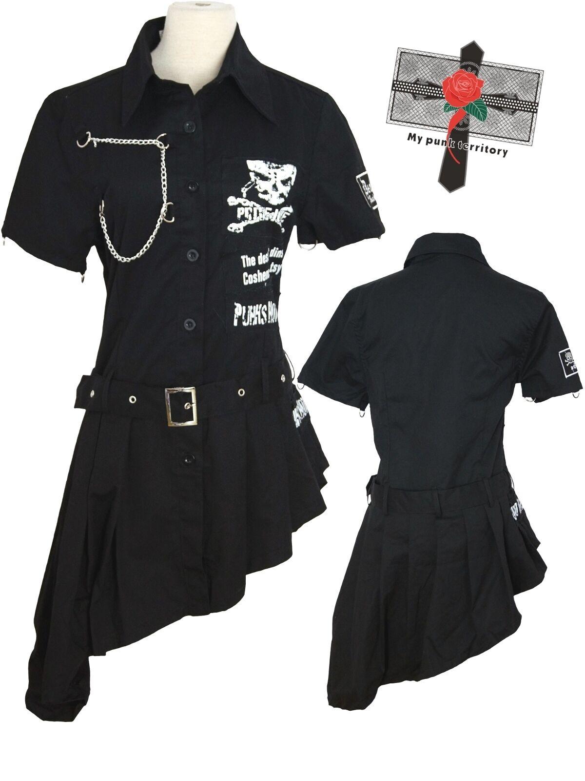 Dark Military Visual Kei Punk Slide Slide Slide Gothic Slim Fit Irregular black Fighter Dress 640f3c