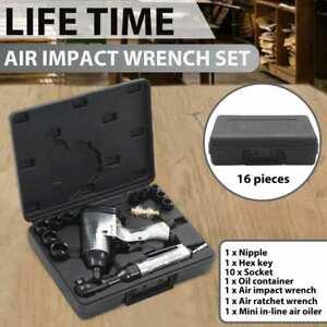 """vidaXL Air Tool Set 16 Piece 1/2"""" Impact Ratchet Kit Pneumatic Screwdriver"""