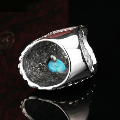 Fahsion Homme Bijoux Eagles incrustation Turquoise Titanium Steel Ring SZ 8-13