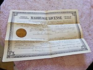 VINTAGE MARRIAGE CERTIFICATE BERKELEY CA CHANNING WAY SWEDEN ALAMEDA SEAL 1918