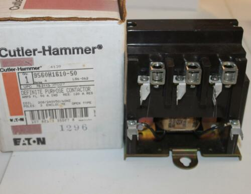 One Cutler-Hammer 9560H1610-50 Def Purpose Contator 3P 125A Res 208//240V Coil
