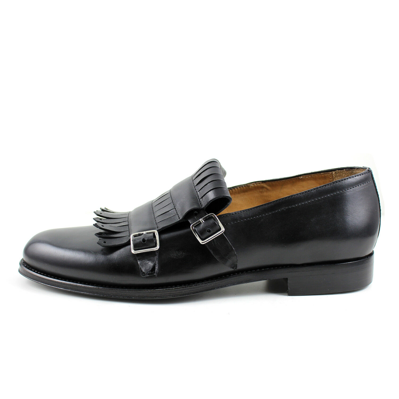 Men's mocassin fringe leather scarpe handmade Italian elegant GIORGIO REA 7650NE
