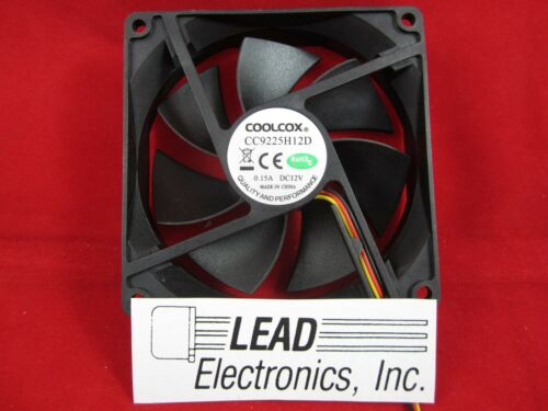 Cool-Cox CC9225H12D D//C fan 3-WIRES W// CONNECTOR 12-VOLT DOUBLE BALL BEARING