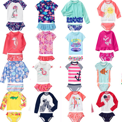 Swimsuit 6-12 18-24  3T NWT Gymboree Girl Pink Flamingo  Rash Guard Set 2P