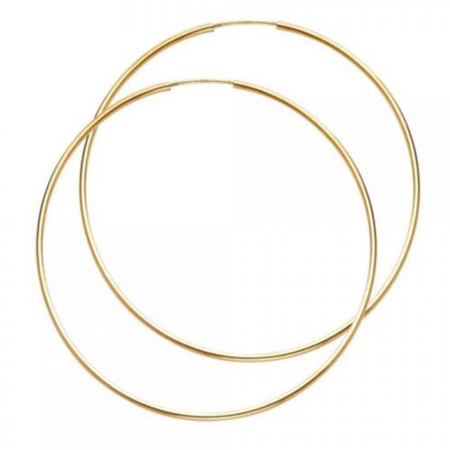 "14K Yellow Solid Italian Gold High Polish Round 1mm Endless Hoop Earrings 1 1//2/"""