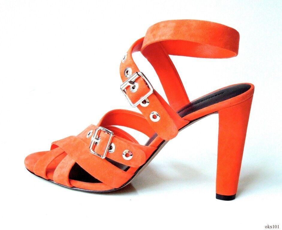 Nuevo  550 Alexander Alexander 550 Wang 'Hailey' Rojo Gamuza Puntera Abierta abrochó la correa de tobillo zapatos 013973