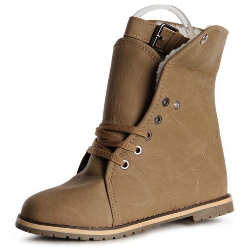Damen Stiefeletten Keilabsatz Worker Boots Booties Keilabsatz 1035