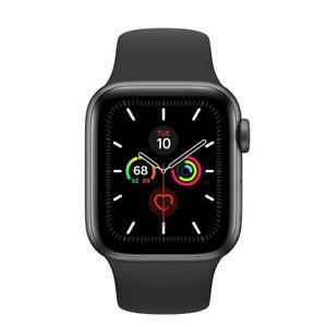 Apple-Watch-Series-5-GPS-Boitier-en-gris-space-de-40mm-avec-bracelet-sport-noir