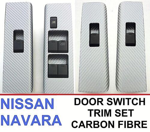 2004-2014 4 Porte Fenêtre Interrupteur Trim Set-Fibre de Carbone Nissan Navara D40//R51