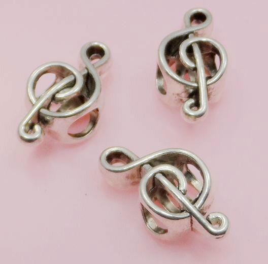 8/30/200Pcs Tibetan Silver Charms Big Hole European Music Note Spacer Beads
