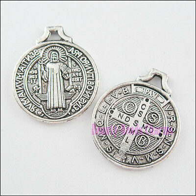 12Pcs Tibetan Silver Saint Benedict Medal Cross Charms Pendants 18x21.5mm