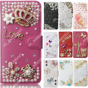 For-Motorola-Case-Leather-Wallet-Cell-Phone-Cases-Flip-Cover-3D-Diamond-Bling