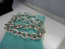 Carolyn Pollack Solid Sterling Silver Twist Link 121.3 Grams Collar Necklace