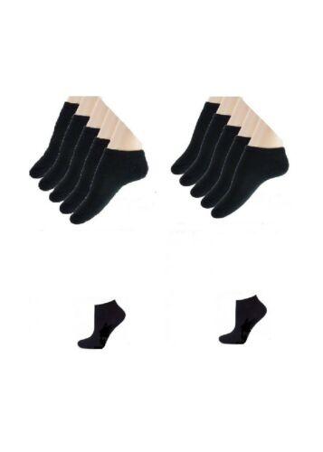 Lot de 6 socquettes coton sport homme femme mixte noir*Noir