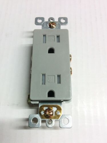 10 pc Decorator Duplex Receptacles 15 Amp Tamper Resistant GRAY 15A Decora TR