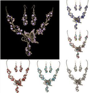 Vintage-Butterfly-Crystal-Rhinestone-Bridal-Necklace-Earrings-Set-Women-Jewelry