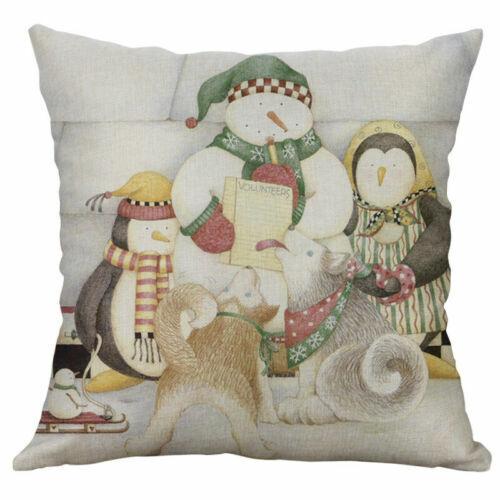 "Christmas Linen Cover Print 18/"" pillow case Decor Cotton penguin Home Cushion"