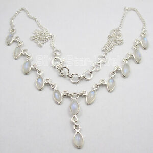 925-Sterling-Silver-Natural-4-x-8-mm-Rainbow-Moonstone-Necklace-New-Art-Jewelry