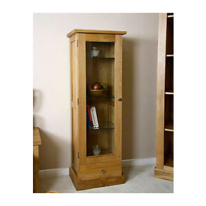 Solid Light Oak Display Cabinet With Glass Door Oak Living Room Furniture