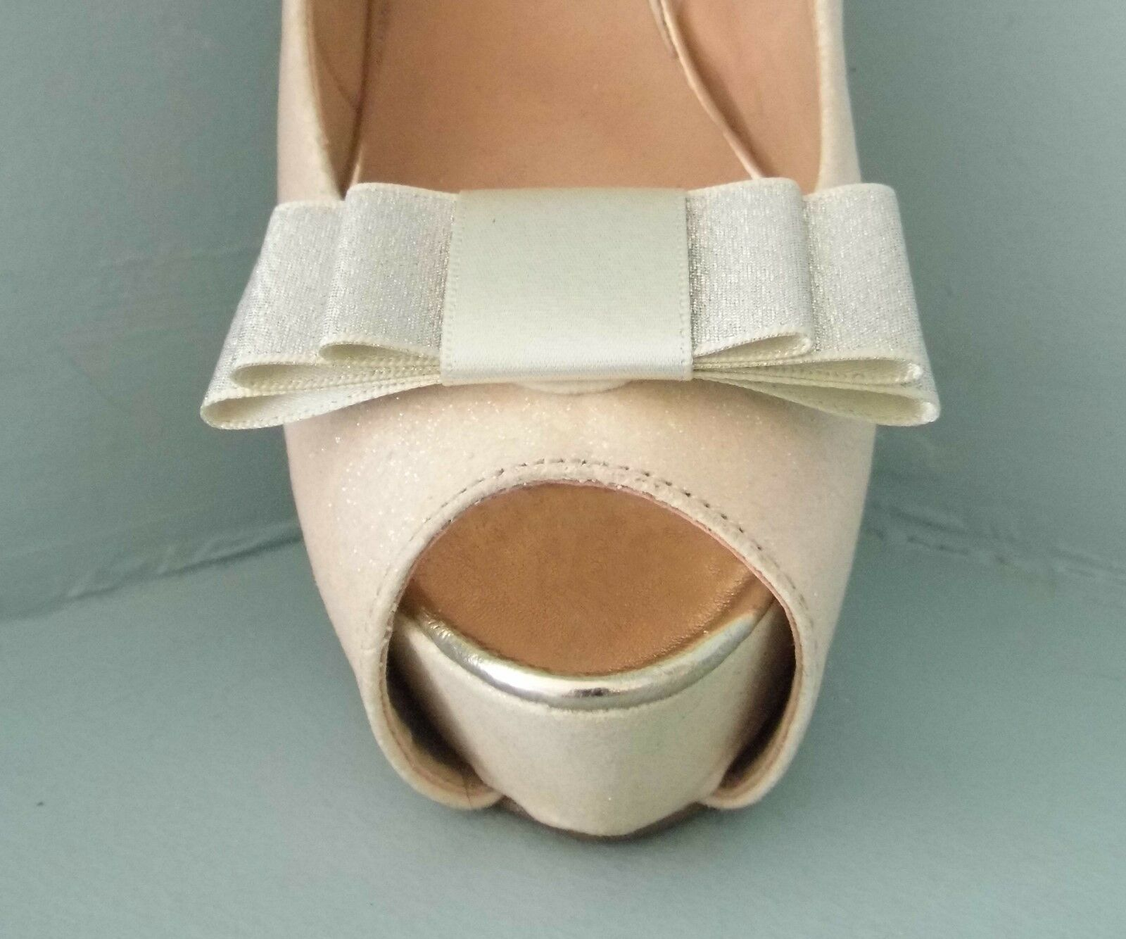 2 Silver / Champagne Double Sided Satin Glitter Bow Clips for Shoes