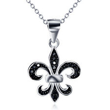 925 Sterling Silver French Flower Fleur De Lis Lys Lily Cross Gothic Necklace18""