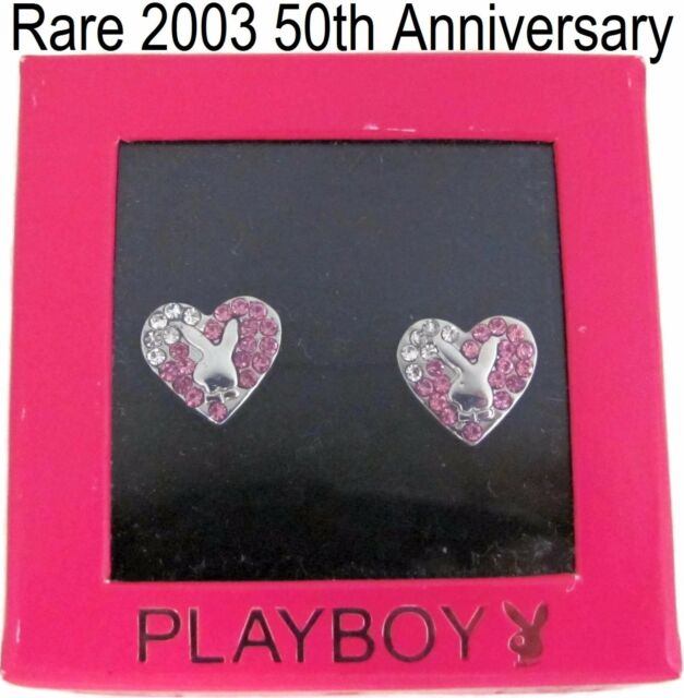 Playboy Earrings Heart Bunny Ear Stud Silver Plated Pink Swarovski Crystal NEW