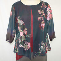 Citron Clothing Plus Size Navy Bamboo Floral 100% Silk Layered Blouse 3x