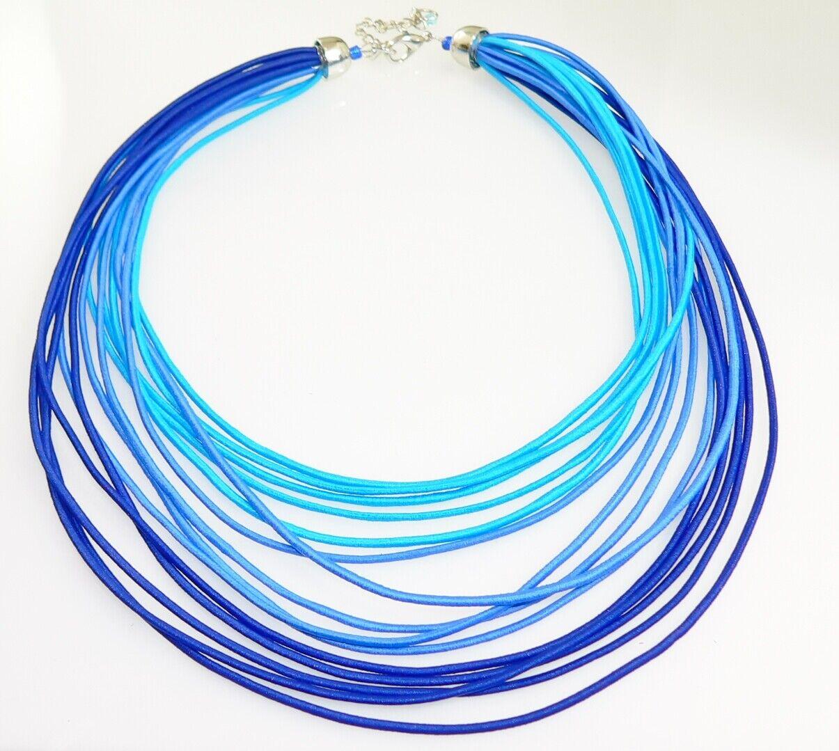 Kette Halskette Collier Statement Textil mehrreihig blau hellblau türkis  393a