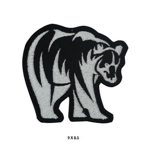 Grizly Black Bear Patch Embroidered Patch Iron on Sew On Badge For Clothes