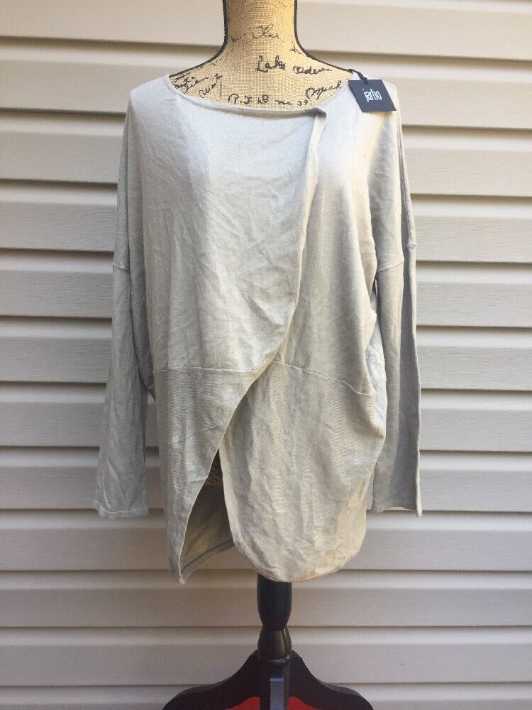JARBO LONG SLEEVE CARDIGAN SWEATER COVER UP TOP SHIRT BEIGE TAN SZ 40 NEW