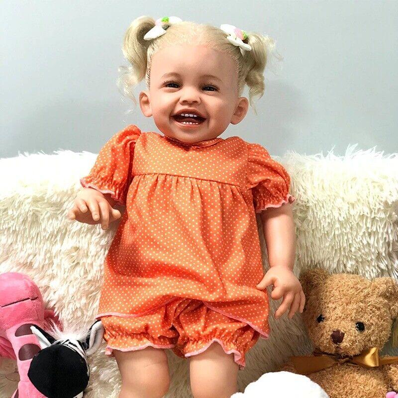 Reborn Baby Dolls Smile Mila Princess Soft Toddler Silicone Birthday Gift 56cm