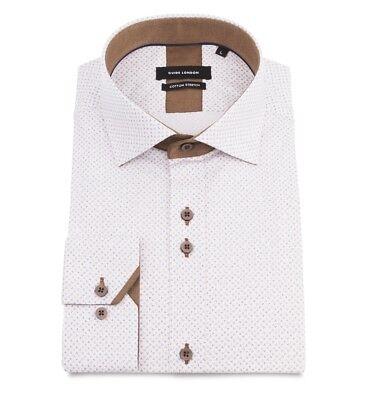 Da Uomo Guide London-bianco sporco cotone stretch NAIF Pattern Camicia-LS74837