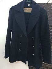 Burberry Brit House Check Print Trench Button Coat Dark Navy Size 6 $895