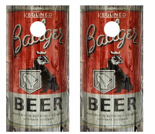 Vintage Badger Beer - Beer Can  Barnwood Cornhole Board Wraps  good price