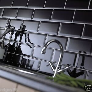 Image Is Loading Wall Tiles Gloss Black Bevel Subway Tile 200x100mm