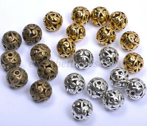 10Pcs-Round-Metal-Carved-Hollow-Tibetan-Silver-Spacer-Beads-For-Jewellry-11MM