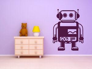 Cute-Robot-Kids-Enfant-Chambre-Mur-Sticker-Autocollant-Decor-amovible-Art-60-cm-x-80-cm-UK