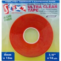 Stix2 15m x 6mm DOUBLE SIDED ULTRA CLEAR TAPE very  high tack