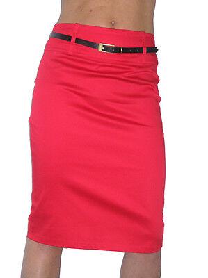 Mini Skirt Stretch Sateen Bodycon With Belt White NEW 8-18
