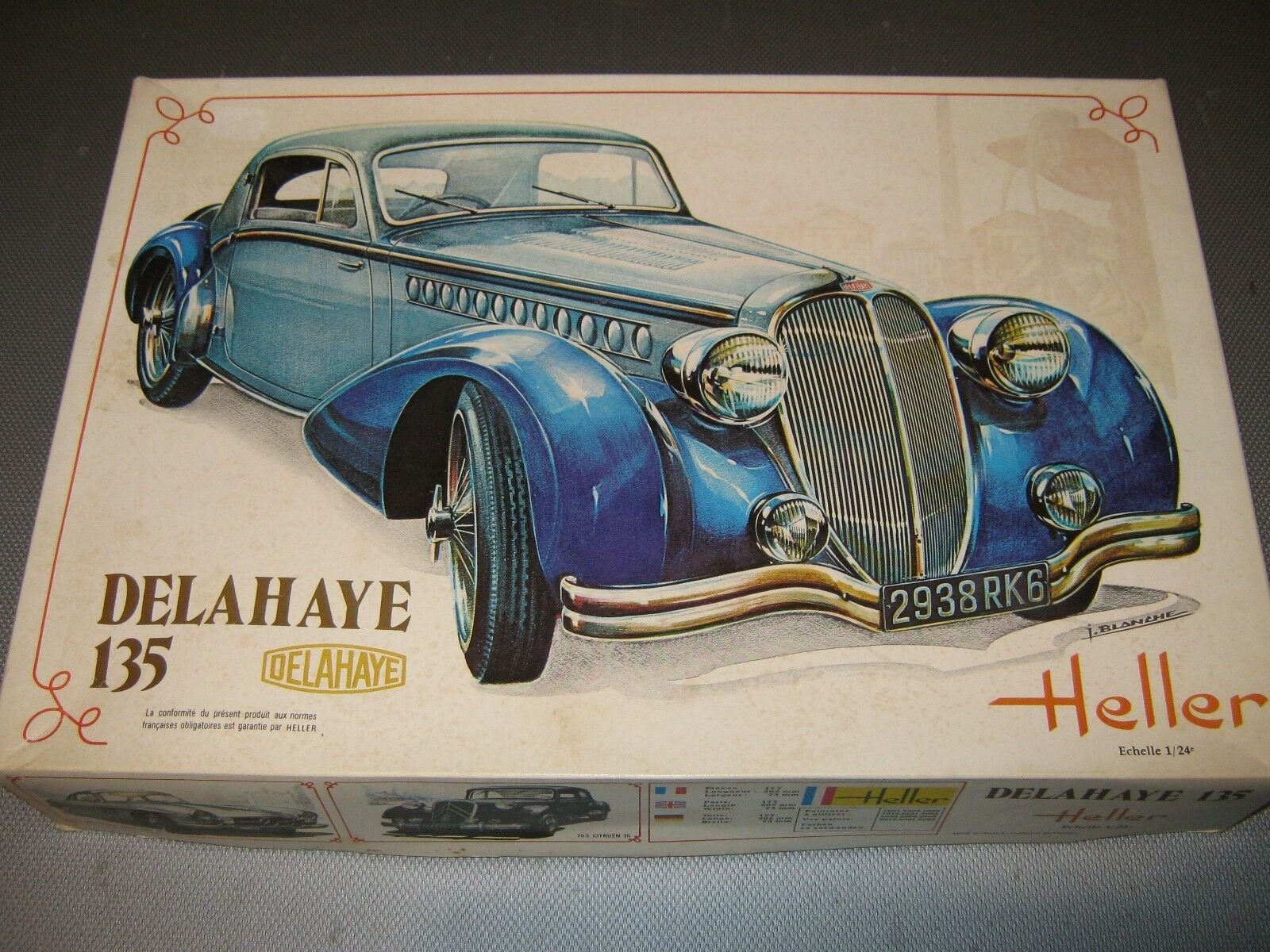 VINTAGE HELLER DELAHAYE 135 MODEL KIT 707 1 24 made in France mint unmade