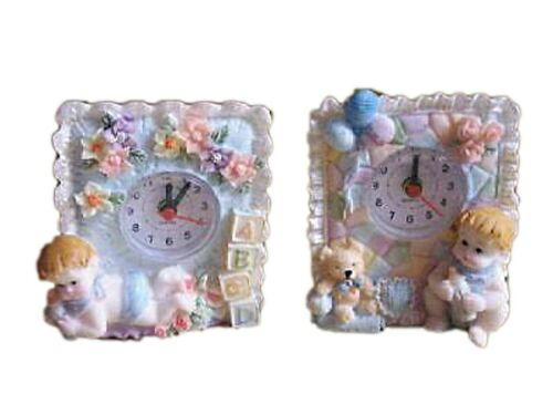 """Set of 2 battery clocks with boy motif poly resin 4/"""""""