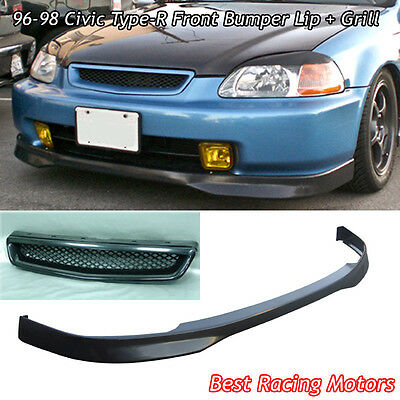 TR Style Front Bumper Lip (PU) + TR Style Grill (ABS) Fit 96-98 Civic 4dr