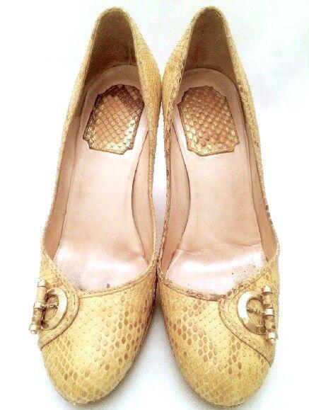 DIOR Cream Snakeskin Buckle Platform Heels (retail )