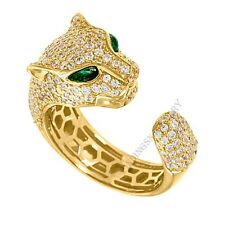 2 ct Round D/VVS1 Pave-set Panther Design Ring in 18K Yellow Gold Over