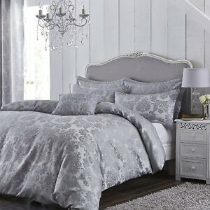 Grey King Size Bedding Sets.Details About Grey Damask Jacquard King Size Bed Bedding Set Duvet Quilt Cover And Pillowcases