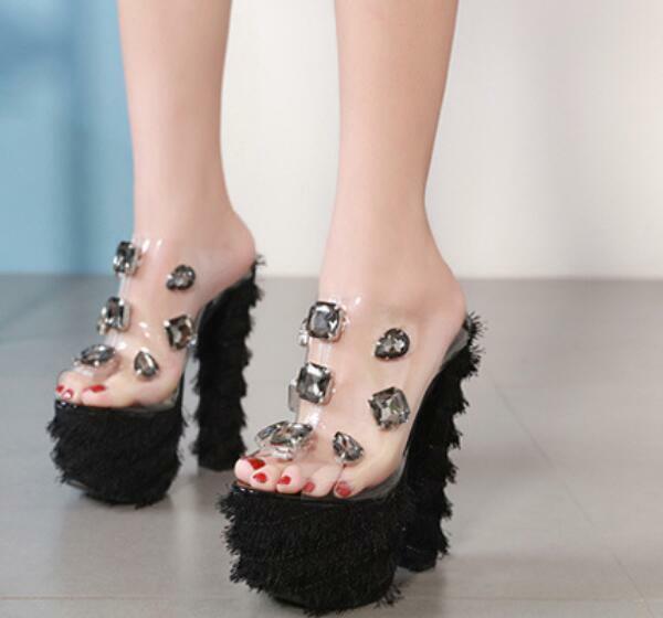 2019 Spring Open Toe Super Block Heels Sexy Rhinestone Platform Womens Slingback