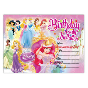 Details About Disney Princess Birthday Party Invitations Pack Of 20 Invites Girls Children