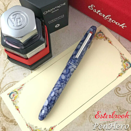 FREE INK Esterbrook Estie Blueberry Silver Trim Fountain Pen Medium